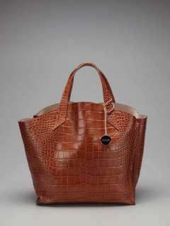 NWT FURLA Croco Embossed Leather Jucca Tote Hobo Bag Handbag Cognac