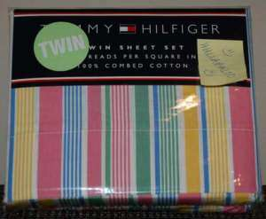 Tommy Hilfiger Daly City Twin Sheet Set Stripe Pastel