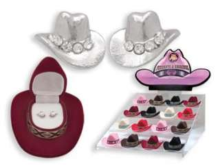New COWBOY HAT VELOUR BOX EARRINGS NECKLACE SET HORSE LOVER COWGIRL