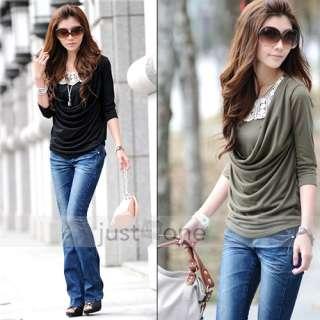 Women Lady Girl Lace Flower Collar 3/4 Sleeve Fake 2 PCS Top T shirt