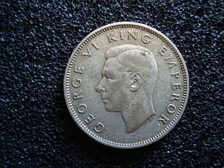 1937 NEW ZEALAND ONE FLORIN SILVER COIN KING GEORGE VI