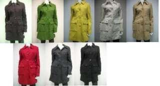 Tulle Wool Blend Coat Jacket XS M L Xl J8052 tan black gray green red