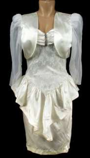 Andre Van Pier 3 PC Ivory Satin Wedding Outfit Size 12