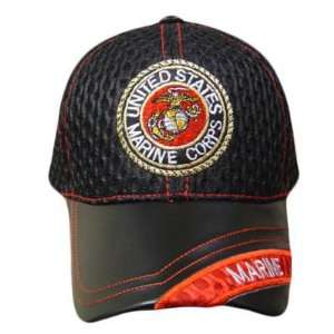 CORP SEAL BLACK MESH LEATHER BRIM CAP HAT ADJ