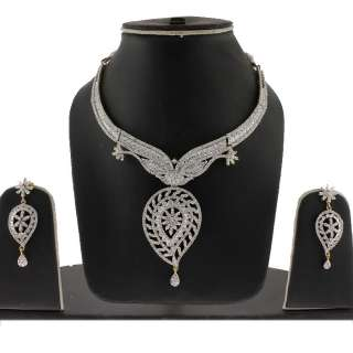 EXCLUSIVE DESIGNER CZ 3 PC TWO TONE NECKLACE WITH DANGLE EARRINGS SET