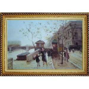 Paris Boulevard Scene Oil Painting, with Linen Liner Gold