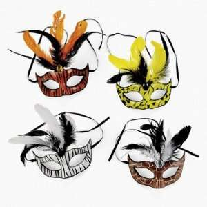 Animal Print Masks With Feathers   Costumes & Accessories & Masks