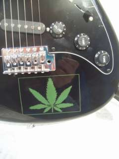 Pot Leaf Rock Electric Guitar Black Marijuana Leaf New