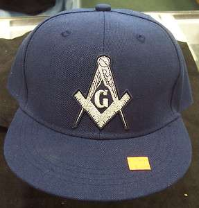Prince Hall Mason Square and Compass Navy Blue Fitted Hat Various