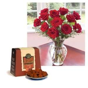 One Dozen Premium Red Roses with Free Box of French