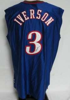 Allen Iverson 76ers Autographed/Signed Authentic Jersey SZ 48 PSA/DNA