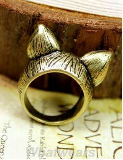 New Hot Korean Style Retro Cute Cat Ears Ring Size 8
