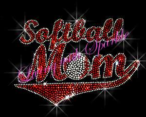 SPORTS MOM BANNER RHINESTONE IRON ON TRANSFER HOT FIX