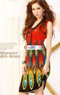 2012 Korea Fashion Womens Deep V Neck Sun Dress Beach Mini Sundress