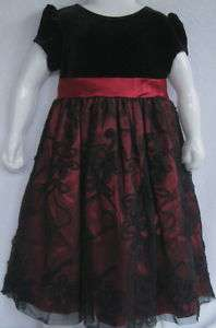 RARE EDITION GIRLS RED & BLACK PARTY DRESS(Size 3T/3)