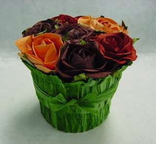Rose Flower Bunch Round Shape Natural Paper Gift Box Party Wedding