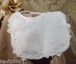 Baby Girls White Christening Baptism Bib Satin Cross