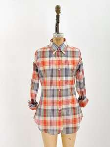 BROOKS BROTHERS Black Fleece BUTTON DOWN TOP SHIRT PLAID CLASSIC RED