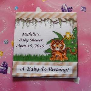12 JUNGLE SAFARI BABY SHOWER TEA BAG WRAPPER FAVORS