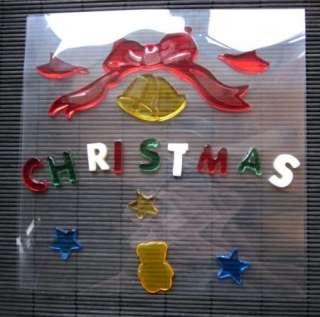 Merry Christmas Jelly Gel Sticker Window Mirror 1pcs
