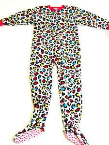 Girls Leopard Print Footed Sleeper Pajamas Size 4/5 NWT