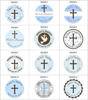 48 round personalized Baptism / Christening labels 2.5 stickers party