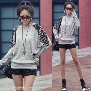 Women Casual Leopard Batty Long Sleeve Sweats Hip length Tops T shirt