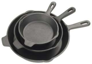 Bayou Classic 3 Piece Cast Iron Skillet Frying Pan Set
