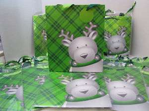 CHRISTMAS MOOSE BBW GREEN PAPER GIFT BAG WRAP 15 PC LOT