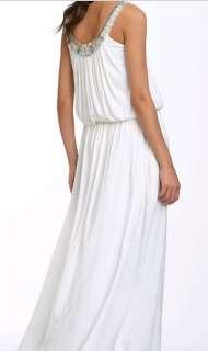 388 BCBG WHITE BEADED SLEEVELESS LONG DRESS GOWN NWT XXS
