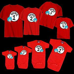 DR. SEUSS THING 1 2 3 4 BABY ONESIE KID YOUTH T SHIRT SIZES 2T 4T 6X