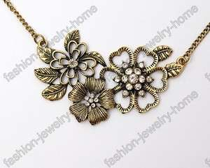 Fashion Beautiful Flower Clear Crystal Retro Bronze Style Necklace