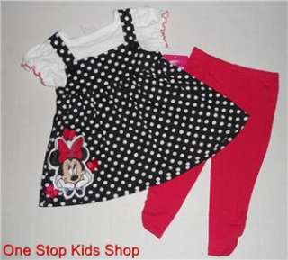 MINNIE MOUSE Girls 24 Mo 2T 3T 4T 5T Set OUTFIT Shirt Pants DISNEY