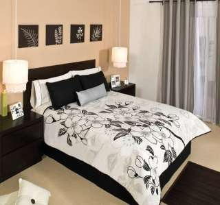New Black White Comforter Sheets Bedding Set Twin 7 Pcs