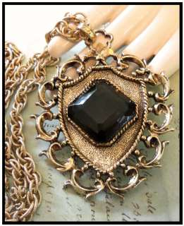Vintage 1970s Smokey Grey Glass Rhinestone Gold Tone Pendant Necklace