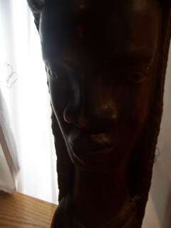Large Hand Carved Wood Bust Statue African? 20 Tall Head