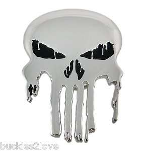 SILVER CHROME THE PUNISHER Skull Belt Buckle gift goth