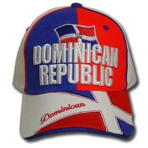 DOMINICAN REPUBLIC WHITE BLUE RED BASEBALL CAP HAT ADJ