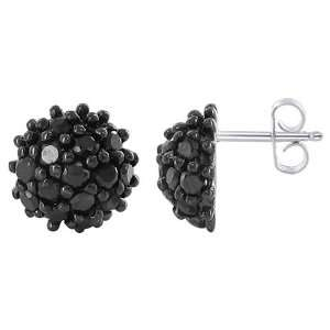 Silver 9mm Rounded Shape Black Cubic Zirconia Pave Post Back Findings