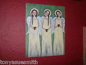 Folk Art Angel Print on Wood  Saint Artangel LOok