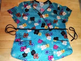 Womens Smock Scrub Floral Flowers Turquoise Tie Waist String Back