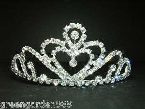 Crown Rhinestone Crystal Tiara Bridal Wedding Comb #6