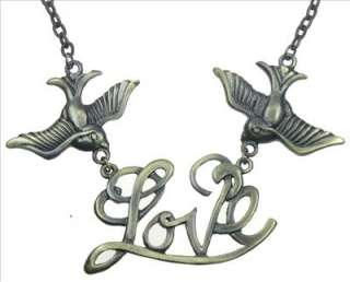 Bird with Love Sparrow Bronze Charm Pendant Necklace