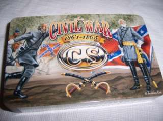 CIVIL WAR PLAYING CARDS TIN HOLDER PORTABLE TRAVEL CARD POKER GAME