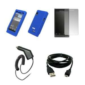 EMPIRE Blue Silicone Skin Cover Case + Screen Protector + Car Charger