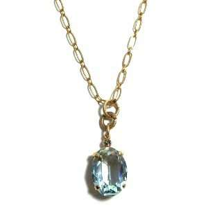 Plated Pendant Necklace with Ice Blue Oval Swarovski Crystal Jewelry