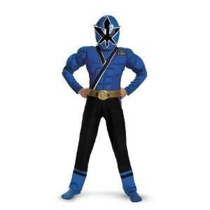 Rangers Samurai   Blue Ranger Muscle Child Costume / Blue   Size Large