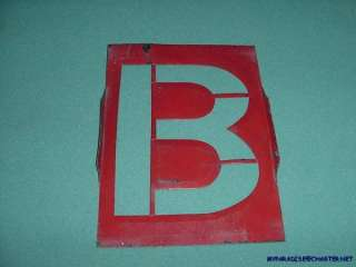 RARE 8 DIE CUT RED (B) STENCIL LETTER DISTRESSED SIGN