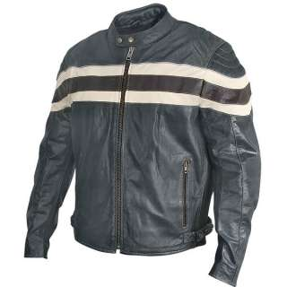 Mens Black Racer Motorcycle Jacket pale yellow stripes