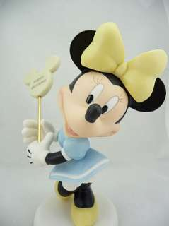 Moments   Disney Minnie Mouse Figurine Holding Happy Birthday Sign